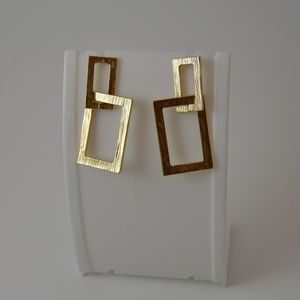 Gold Rectangle Abstract Dangle Earrings